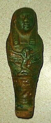 Ancient Ushabti Bluish Green Faience Winged Isis From Egypt w Glyphs Old Kingdom