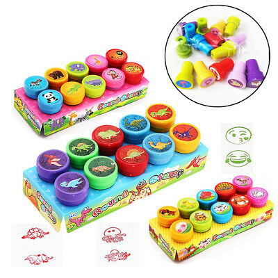10Pcs Self-ink Rubber Stamps Kids Party Event Supplies Birthday Gifts Boy Toy
