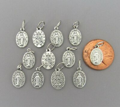 Lot 12 TINY Miraculous Medal Charm for Rosary Bracelet Italy M111 finish SILVER