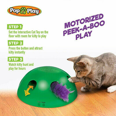 2019 New Pop N' Play Interactive Motion Cat Toy Mouse Tease Electronic Pet Toys