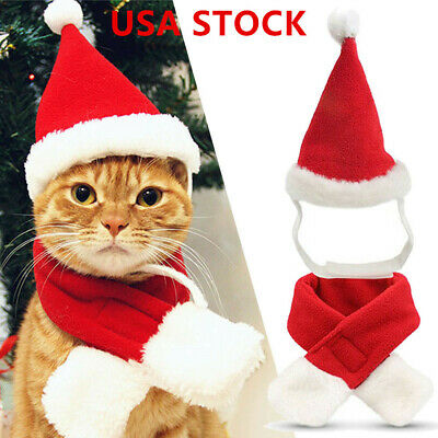 Christmas Pet Dog Cat Santa Red Hat &Scarf Clothes Puppy Xmas Decoration Costume