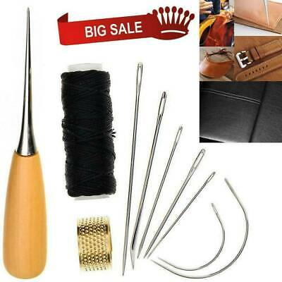 Leather Sewing Needles Stitching Awl Needle Kit Thread Thimble Shoes Repair Tool