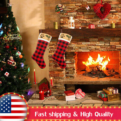 2PACK Red&Black Christmas Stocking Bag Strong & Durable Hanging Room Decoration