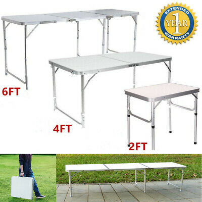2/4/6FT Heavy Duty Folding Table Portable Plastic Camping Garden Party Trestle