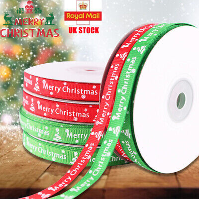 UK Snowflakes Roll Ribbon Gift Wrapping Happy Merry Christmas Ribbons 22 Metres