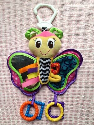 PLAYGRO BUTTERFLY Baby Activity Rattle Pram Buggy Toy Crinkle Taggies Teether