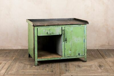 Original Industrial Unit With Distressed Green Paintwork And Wooden Top