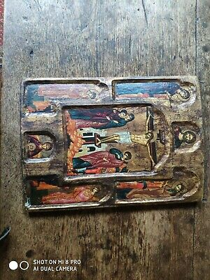 ANTIQUE RUSSIAN ORTHODOX ICON wooden and handpainted