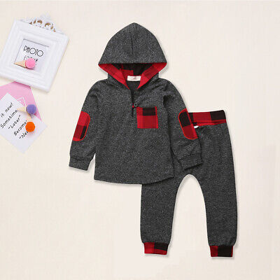 US Toddler Kids Baby Girls Clothes Warm Hoodies Top Thick Pants Outfit Tracksuit