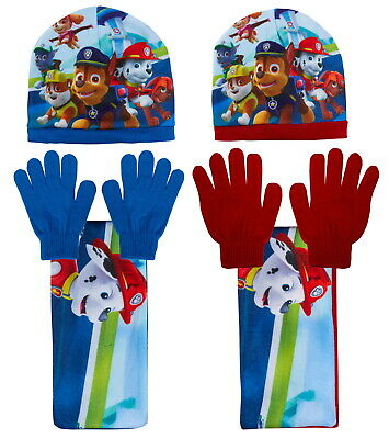 Paw Patrol Woolly Hat + Scarf + Gloves 3 piece Knitted Winter Set Kids Xmas Gift