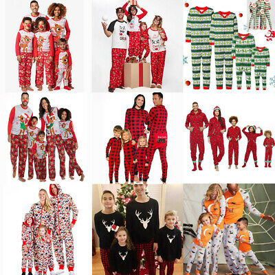 HOT Family Christmas Pyjamas Set Matching Adult Kids Nightwear Pajamas Xmas US