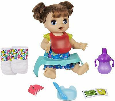 aby Alive Happy Hungry Baby Brown Straight Hair Doll