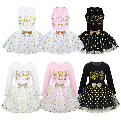 Baby Girls Birthday Dress Kids Party Outfits Princess Polka Dots Tutu Skirt Set