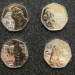 Full Set Of All 4 Paddington Bear 50P Fifty Pence Coins Uncirculated