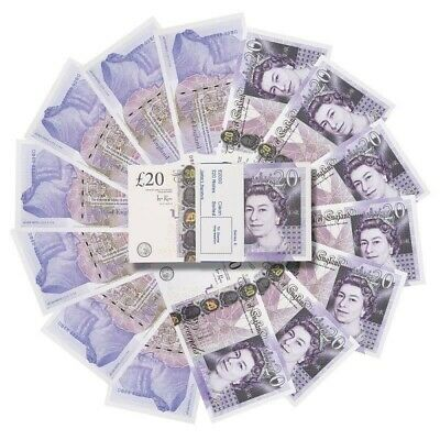 £20 notes X1 - DOUBLE SIDED, ACTUAL SIZE - Realistic joke - F&F shipping