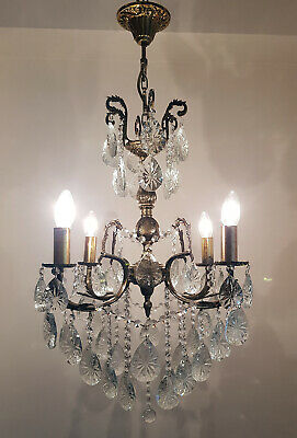 Antique Vintage 4 Arms Cast Brass & Crystals Chandelier Lighting Ceiling Lamp