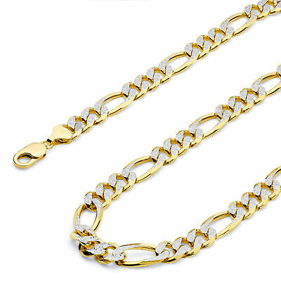 Wellingsale 14k Yellow Gold Solid 11mm Figaro 3+1 Pave Chain Necklace
