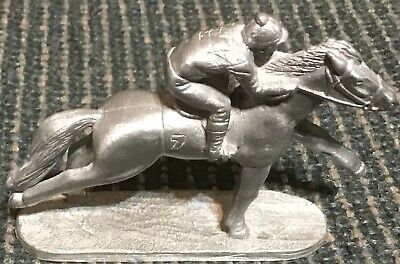 Pewter Racehorse and Rider Figurine Spoontiques