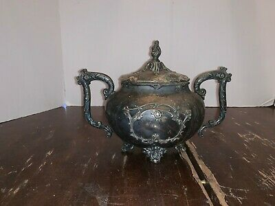 Victorian Aesthetic Period Silverplate Repousse Covered Sugar Bowl James W Tufts