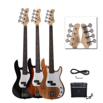 3 Colors Glarry Right Handed School Band Basswood Electric Guitar Bass w/ AMP