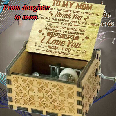 Wooden Engraved Music Box Xmas Gift for Mom/Dad Daughter/Son/Girlfriend/Wife UK