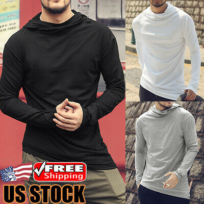 Men's Long Sleeve Casual Loose Gym T-shirt Jumper Sweater Tops Hooded Sweatshirt