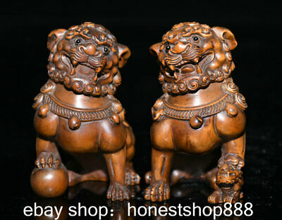 """3.4"""" Old China Boxwood Hand-carved Feng Shui Foo Dog Lion Ball Luck Statue Pair"""