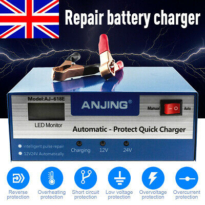 12V/24V Car Battery Charger Automatic Intelligent Jump Starter Pulse Repair 10A
