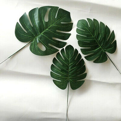12 Pcs Green Jungle Tropical Beach Island Polyester Leaves Table Decoration QK