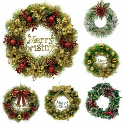 UK Christmas Wreath Rattan Garland Plants Hanging Decor Xmas For Party Door Wal
