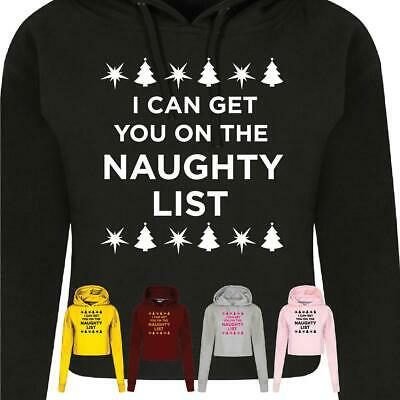 I Can Get You On The Naughty List Tee Christmas Jumper Cool Festive Crop hood