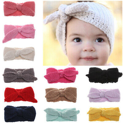 Baby Girls Winter Turban Hair Band Rabbit Ears Knitted Wool Headband Headwrap-
