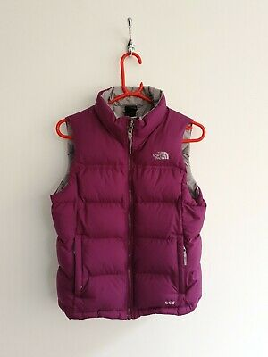 Girls North Face 550 Fill Down Gilet Vest Purple Large 14/16