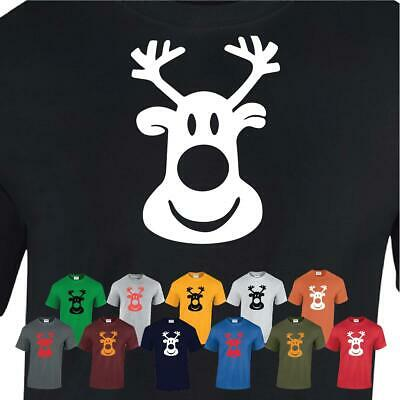 Christmas Retro Rudolf Xmas Gift Kids Mens Top Rudolph Reindeer Face T-Shirt