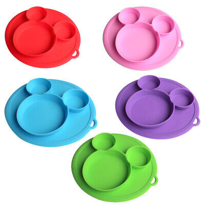Silicone Baby Kids Suction Table Food Tray  Mickey Cartoon Placemat Plate Bowl