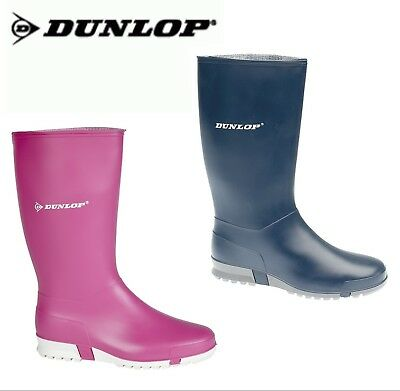 DUNLOP Boys Girls Ladies Wellies Navy Pink Welly Boots - Older Childs Size 6 7 8