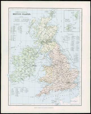 1903 Original Antique Colour Map - BRITISH ISLANDS ORKNEY SHETLAND IRELAND (7)