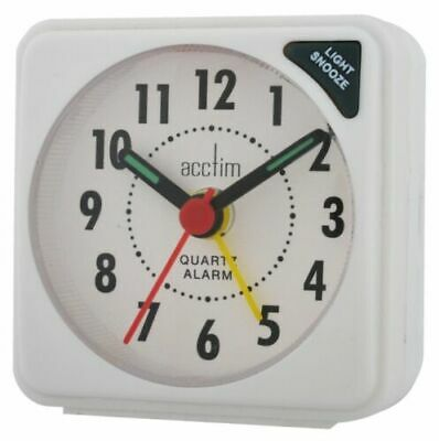 Acctim Ingot Mini Compact Travel Alarm Clock - White Snooze and Light