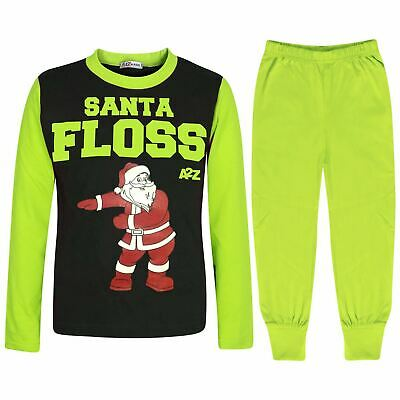 Kids Girls Boys Pyjamas Trendy Santa Floss Lime Christmas Loungewear Pjs Outfits