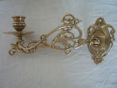 A Single Vintage Decorative Brass Candlestick Holders Wall Sconce Piano Nouveau