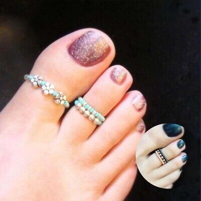 Foot Toe Ring Celebrity Women Finger Beach Rhinestone Jewelry Barefoot Girl
