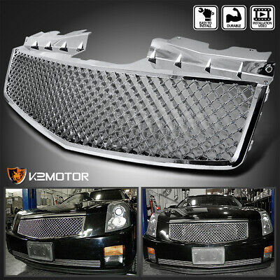 For 2003-2007 Cadillac CTS Honeycomb Style Chrome Front Bumper Hood Grill Grille