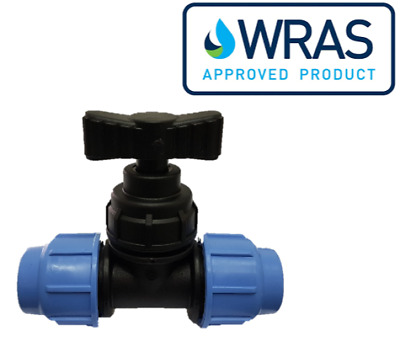 MDPE Plastic Compression Stopcock Valve PE100 LDPE Water Pipe WRAS Approved
