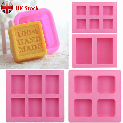 New DIY Making Mould Rectangle Square Soap Mold UK for Homemade Silicone Tray