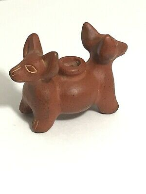 Pre-Columbian Style Colima Mexican Double Headed Dog Effigy Pottery Vessel