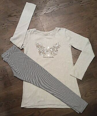 Girl's NEXT Butterfly Top & Navy Striped Leggings Set - 14 YEARS