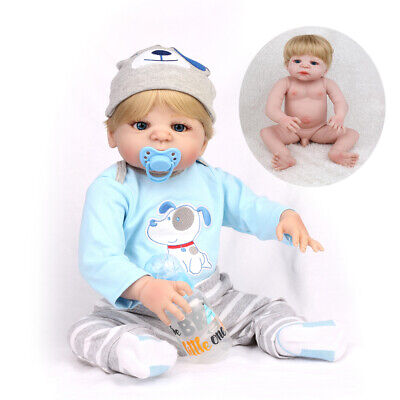 "22"" Full Body Vinyl Reborn Baby Dolls Lifelike Sleeping Newborn Boy Doll Gift"