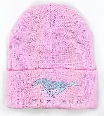 FORD MUSTANG BLACK BEANIE CAP WITH RUNNING HORSE EMBROIDERY ADULT SIZING