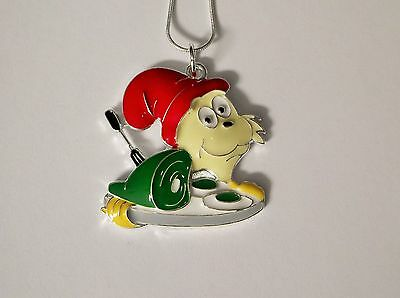 DR ZEUSS Inspired Large Charm NECKLACE GREEN EGGS & HAM Snake Chain
