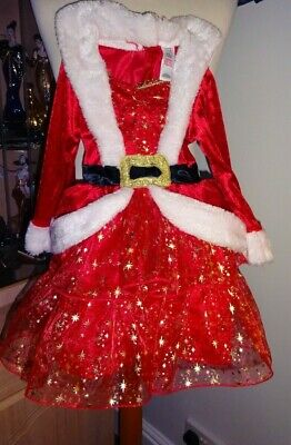 Girls Red/Multi Miss Christmas Clause Dress Age 2/3 Years Vgc